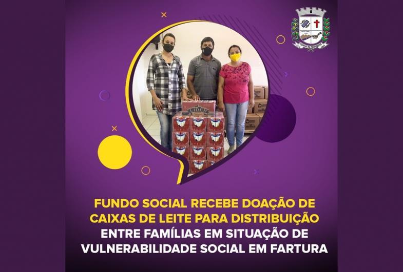 Fundo Social de Fartura recebe doação de caixas de leite
