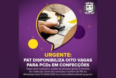 Urgente: PAT disponibiliza oito vagas para PCDs em confecções