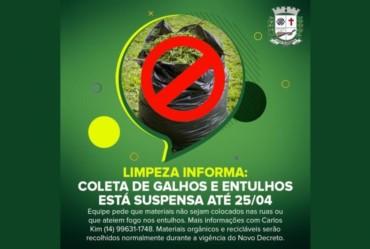 Limpeza Informa: Coleta de galhos e entulhos está suspensa até 25/04