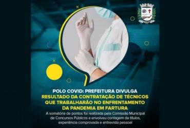 Polo Covid: Prefeitura divulga resultado da contratação de técnicos que trabalharão no combate a pandemia em Fartura