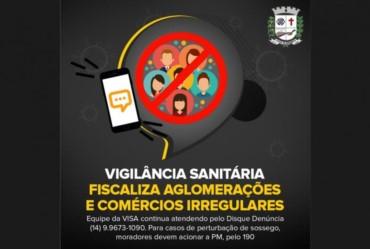 Vigilância Sanitária fiscaliza aglomerações e comércios irregulares; cinco autuações foram realizadas em março em Fartura