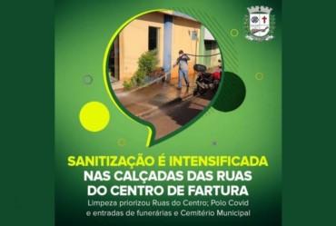 Sanitização é intensificada nas calçadas das ruas do Centro de Fartura