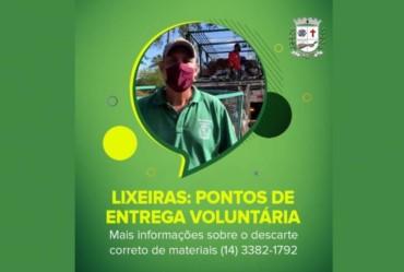 Coordenadoria de Agricultura e Meio Ambiente orienta moradores quanto ao uso das Lixeiras (PEV)