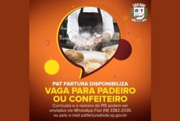 PAT Fartura disponibiliza vaga para Padeiro ou Confeiteiro