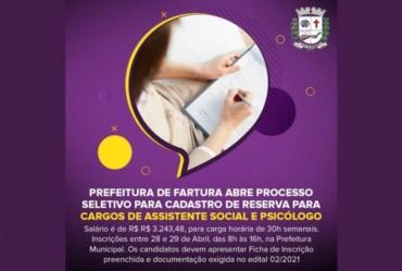 Prefeitura de Fartura abre Processo Seletivo para cargos de Assistente Social e Psicólogo