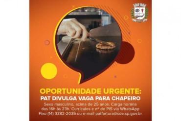 PAT Fartura divulga vaga disponível de Chapeiro