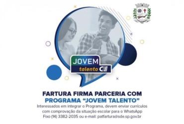 """Fartura firma parceria com Programa """"Jovem Talento"""""""