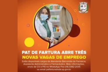 PAT de Fartura abre três novas vagas de emprego