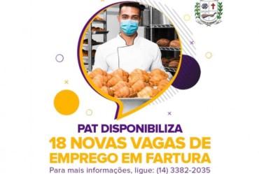 PAT disponibiliza 18 novas vagas de emprego em Fartura
