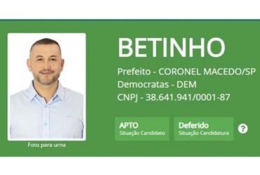 Betinho tem candidatura deferida em Coronel Macedo