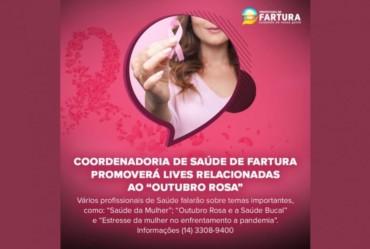 """Coordenadoria de Saúde de Fartura promoverá lives relacionadas ao """"Outubro Rosa"""""""