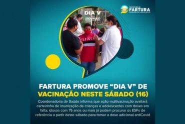 """Fartura promove """"Dia V"""" de Vacinação neste sábado (16)"""