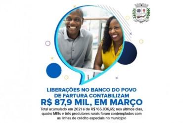 Liberações no Banco do Povo de Fartura contabilizam R$ 87,9 mil, em março