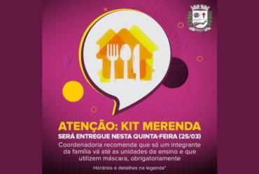 Atenção: Kit Merenda será entregue nesta quinta-feira (25/03)