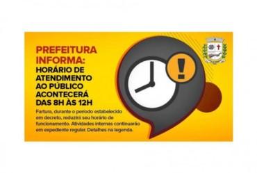 Prefeitura informa: horário de atendimento ao público acontecerá das 8h às 12h