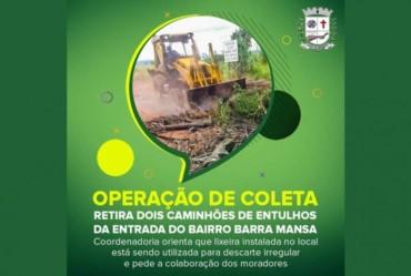 Meio Ambiente: Operação de coleta retira dois caminhões de entulhos da entrada do bairro Barra Mansa