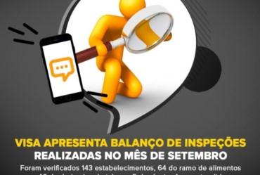 Visa apresenta balanço de inspeções realizadas no mês de setembro