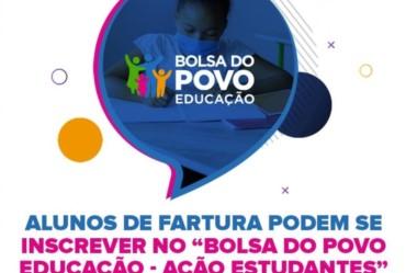 """Alunos de Fartura podem se inscrever no """"Bolsa do Povo Educação - Ação Estudantes"""""""