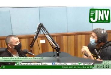 Candidato à reeleição, prefeito Betinho concede entrevista ao Jornal Nova Voz