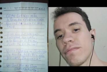 Homem desaparecido deixa carta de despedida a familiares