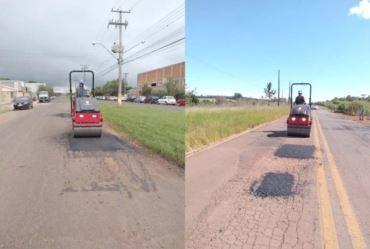 Estrada vicinal e bairros recebem nova fase da Operação Tapa-Buraco