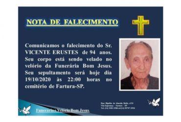 Pai da candidata à prefeita de Fartura Célia, Vicente Erustes falece aos 94 anos