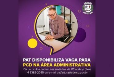 Urgente: PAT disponibiliza vaga para PCD na área administrativa
