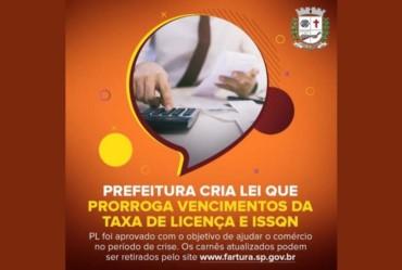 Prefeitura cria Lei que prorroga vencimentos da Taxa de Licença e ISSQN