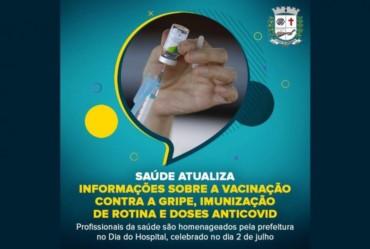 Saúde atualiza informações sobre a vacinação contra a gripe, imunização de rotina e doses antiCovid