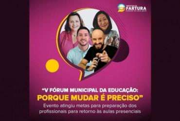 """""""V Fórum Municipal da Educação"""" atinge metas e destaca preparação para retorno às aulas de forma presencial* em Fartura"""