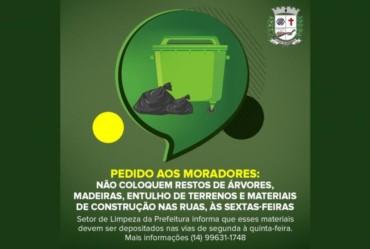 Equipe de Limpeza reforça orientações aos moradores