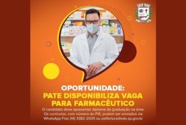 Oportunidade: PATE disponibiliza vaga para farmacêutico