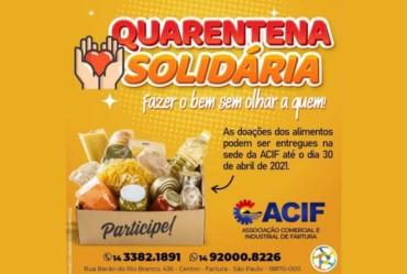 """Acif realiza campanha """"Quarentena Solidária"""" para arrecadar alimentos"""